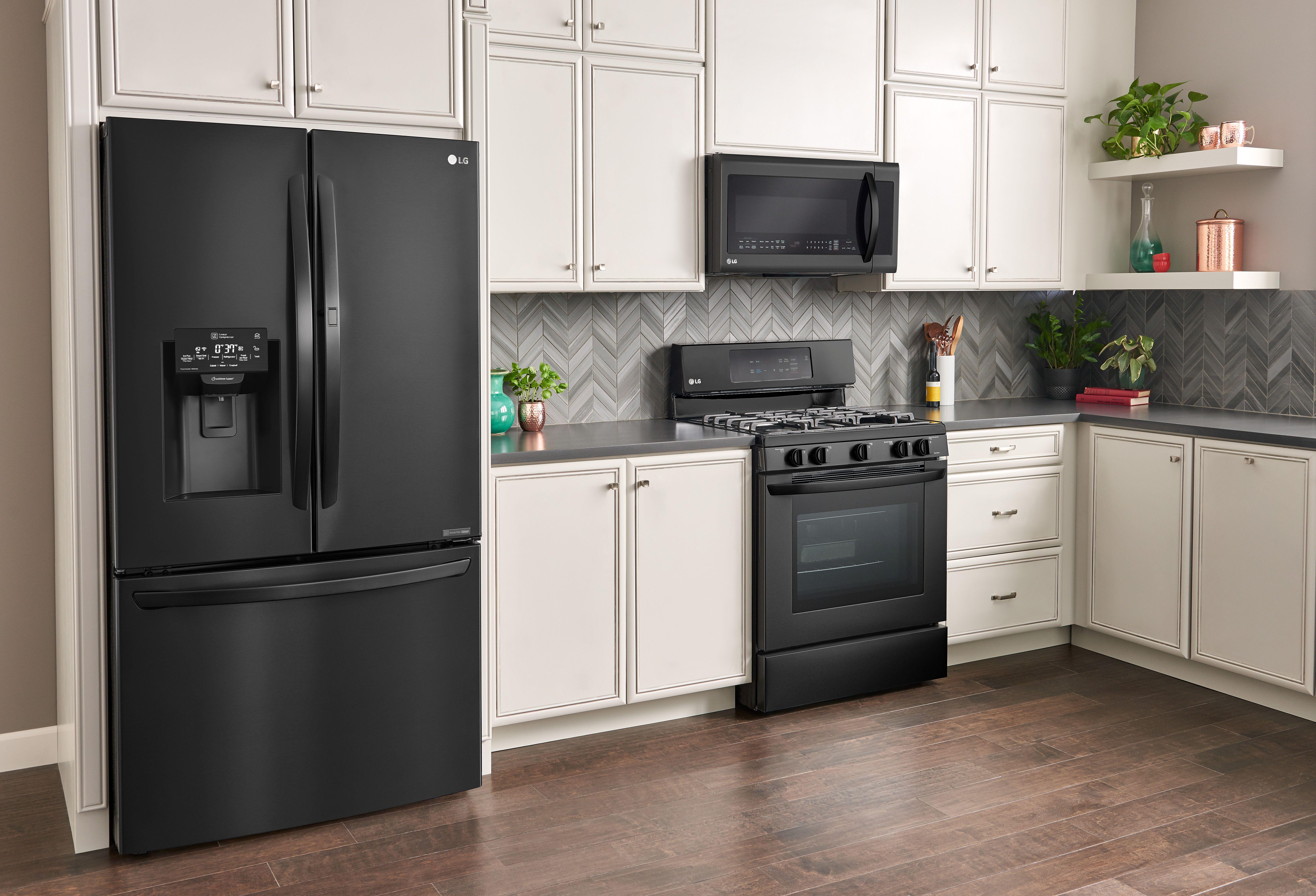 My Dream Lg Matte Black Kitchen Bestbuy Lgus Ad Shabby Chic Boho Black Appliances Kitchen Matte Black Kitchen Appliances White Cabinets