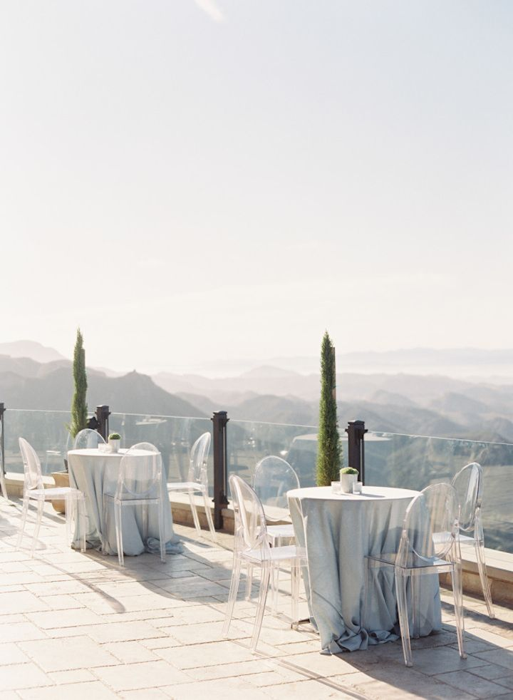 Wedding reception with overlooking rolling hill in Malibu