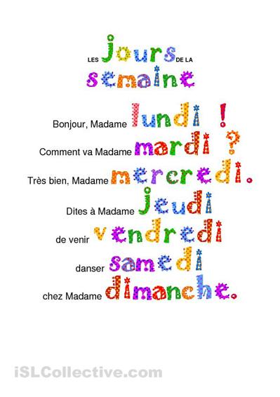 Les Jours De La Semaine Chanson Google Search Comptines Comptine Maternelle Enseignement Du Francais