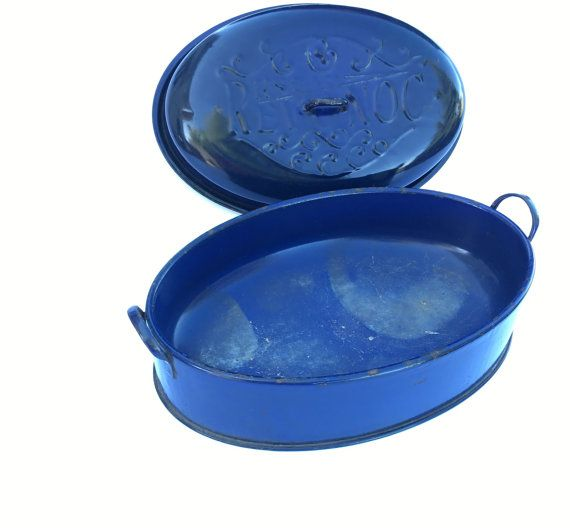 revonoc blue enamel roasting pan large vintage turkey by jarmfarm