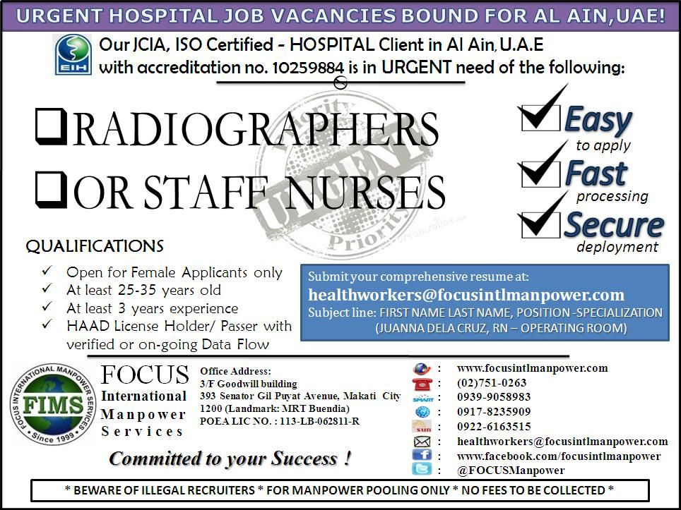 Our ISO Certified and JCI Accredited Tertiary Hospital Client is - radiographer resume