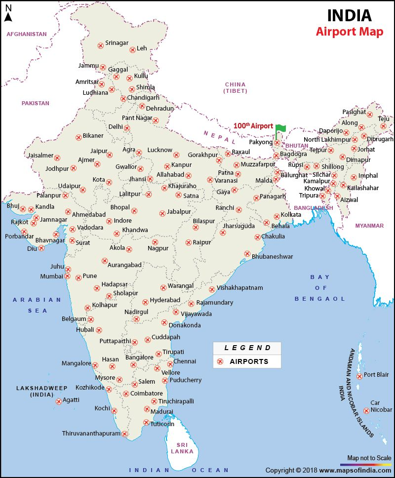Major Airports In India Airport Map India World Map Map