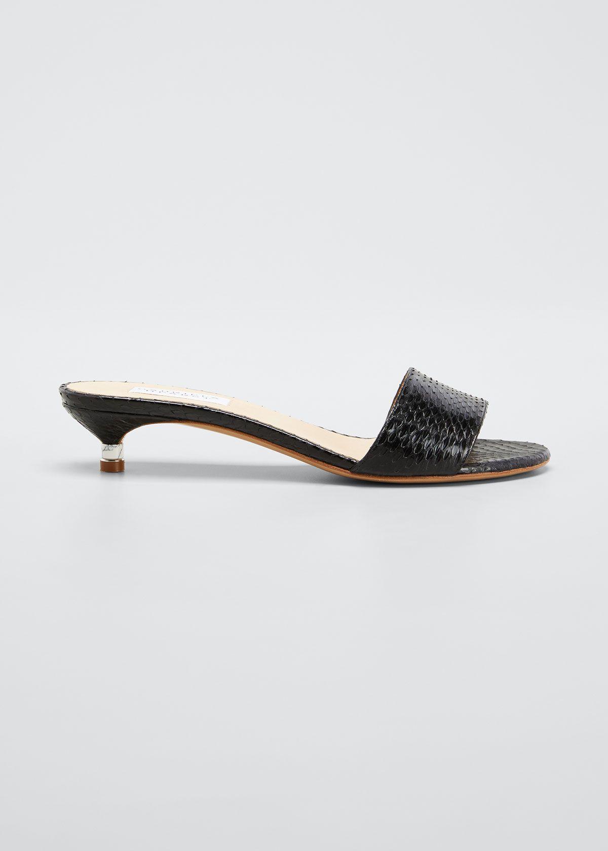 Gabriela Hearst Garcia Snake Kitten Heel Mule Sandals Gabrielahearst Shoes In 2020 Kitten Heels Heeled Mules Heels