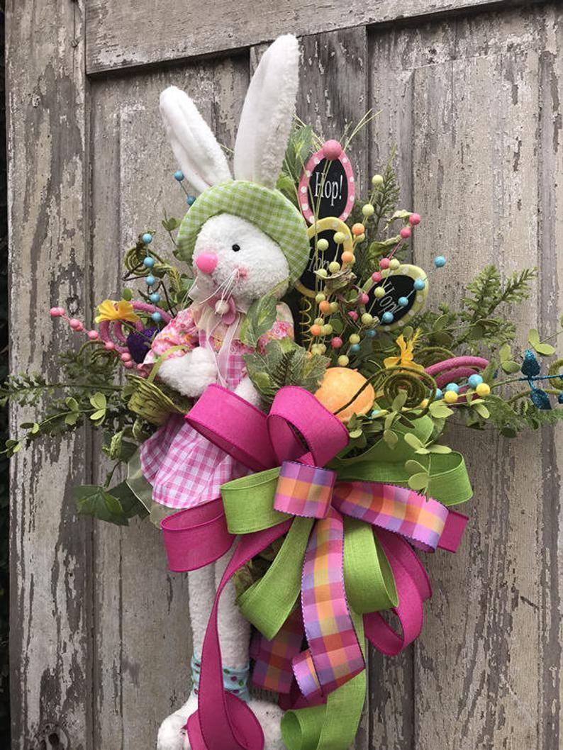 Bunny Door Hanger Easter Door Hanger Spring Wreath Easter Wreath Easter Bunny Wreath Bunny Wreath Easter Front Door Bunny Door Decor