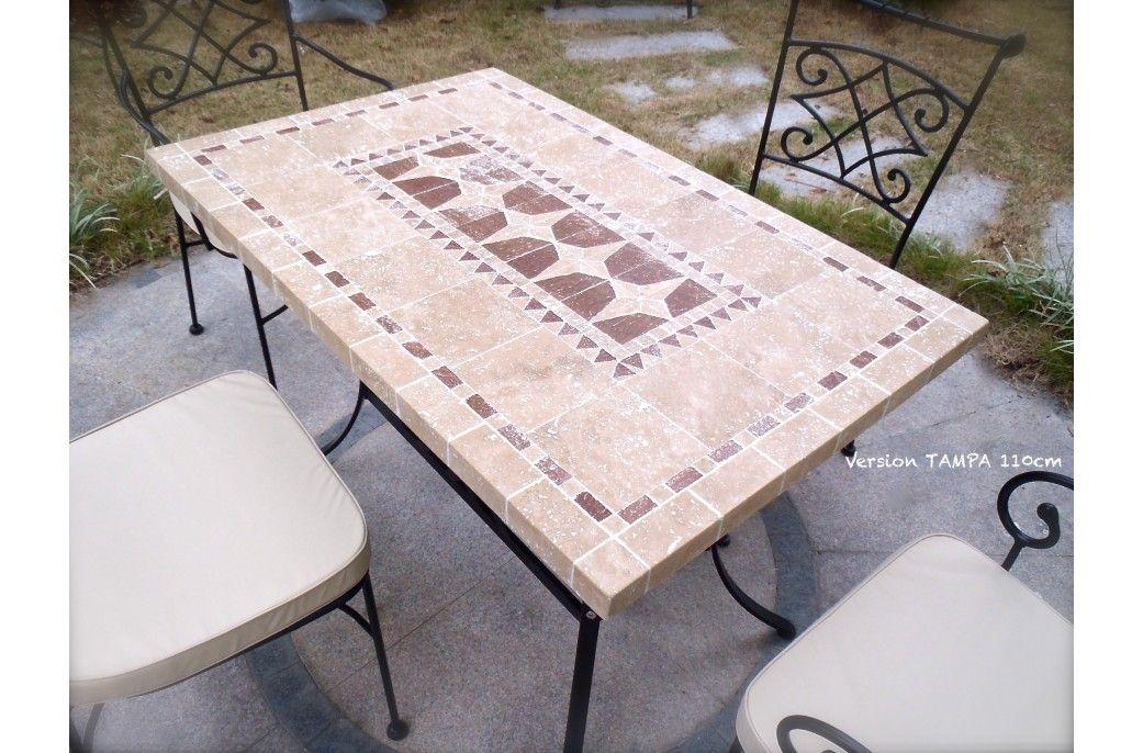 Table de jardin mosaïque en pierre naturelle 160-200-240cm - TAMPA ...