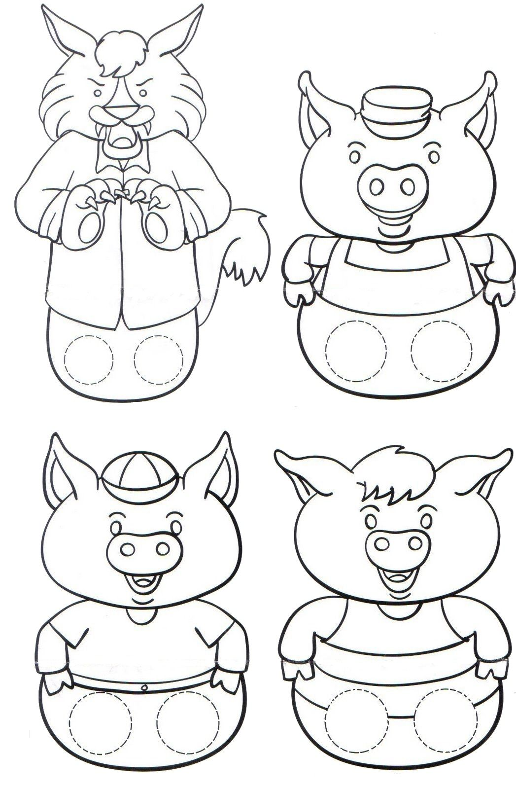 Dibujos para colorear de los tres cerditos y el lobo  Dibujos