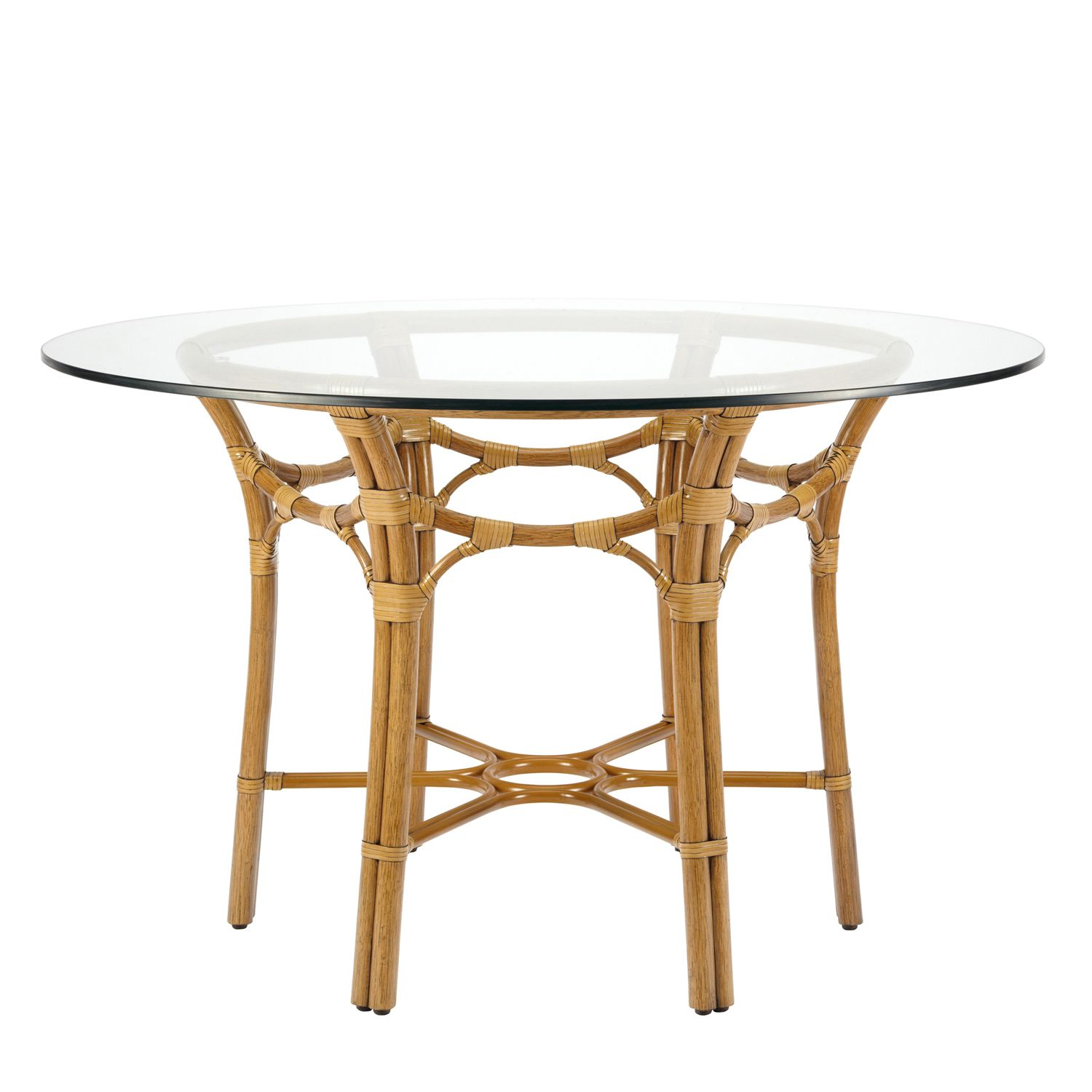 Our Taylor Nutmeg Rattan Table Base From Selamat Designs Was Inspired By Japanese Gothic Details This Rattan Dining Table Rattan Furniture Glass Dining Table