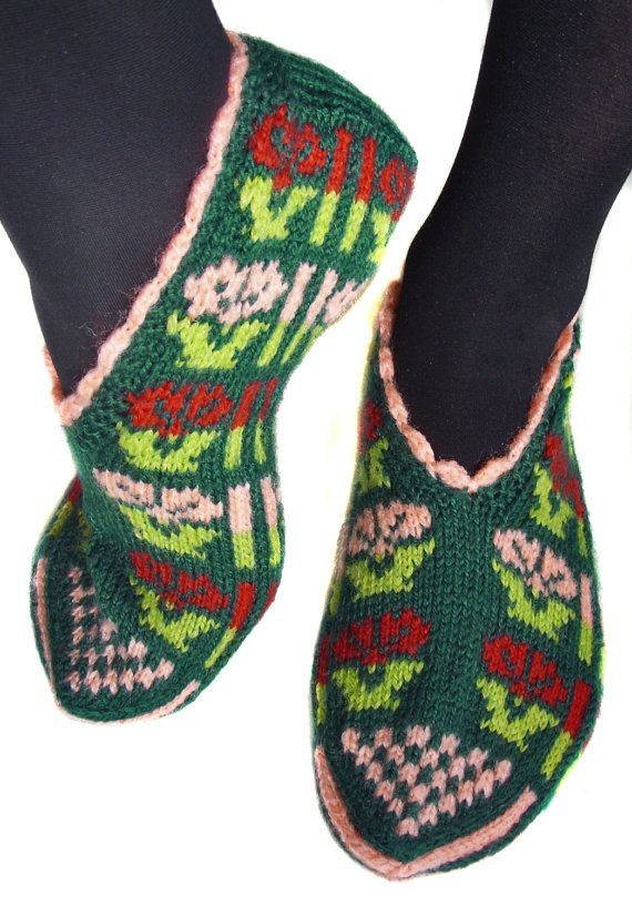 Turkish slippers Hand knitted female slippers by galapagospg ...