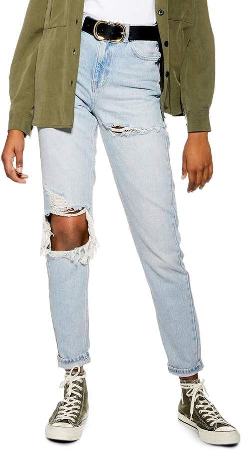 97dcae6924e Women's Topshop High Waist Ripped Mom Jeans, Size 25W x 30L (fits ...