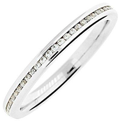 18ct white gold 15pts total diamond half set wedding ring