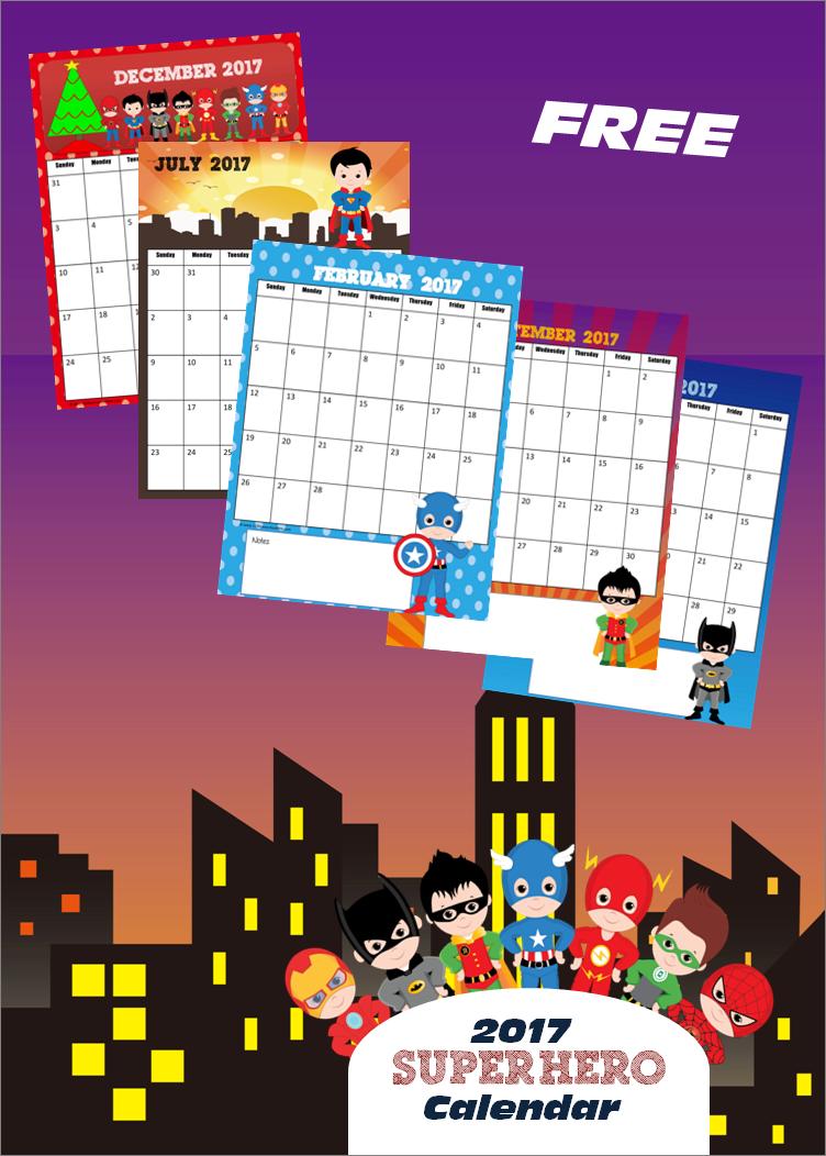 December 2020 Printable Calendar For Kids FREE Super Hero Calendar 2019 2020 | Home Preschool | Kids