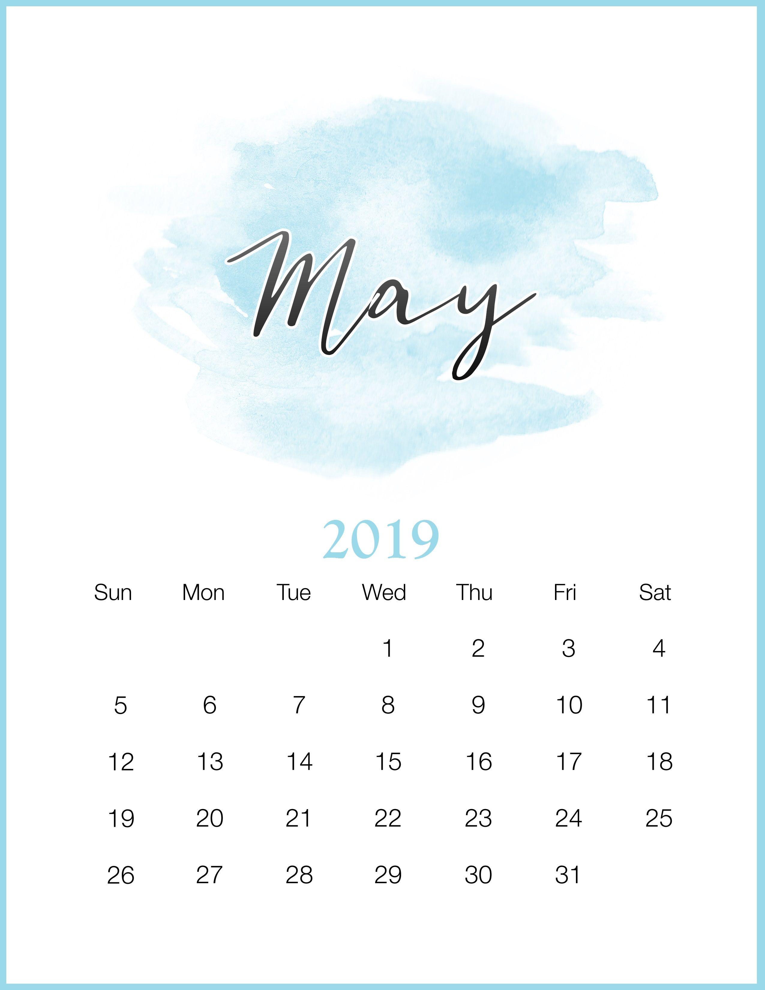Watercolor 2019 May Printable Calendar 2018 2019 Pinterest