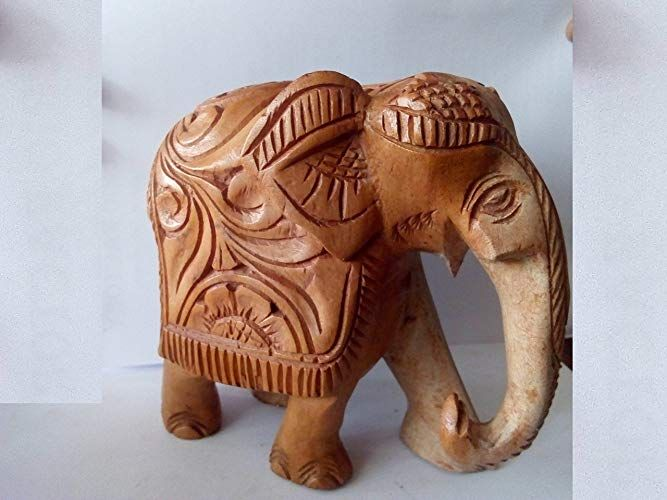 Real Natural Carved Style Lucky Elephant Trunk Down100 Wood Made