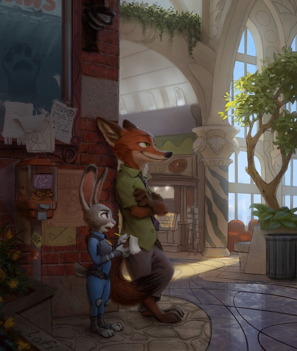DIsney's Zootopia (2016) - A criminal jerk, meets police bunny. Nick Wilde and Judy Hopps Zootopia fanart by Lofi from Tweeter.. [ @loafyfloff ]