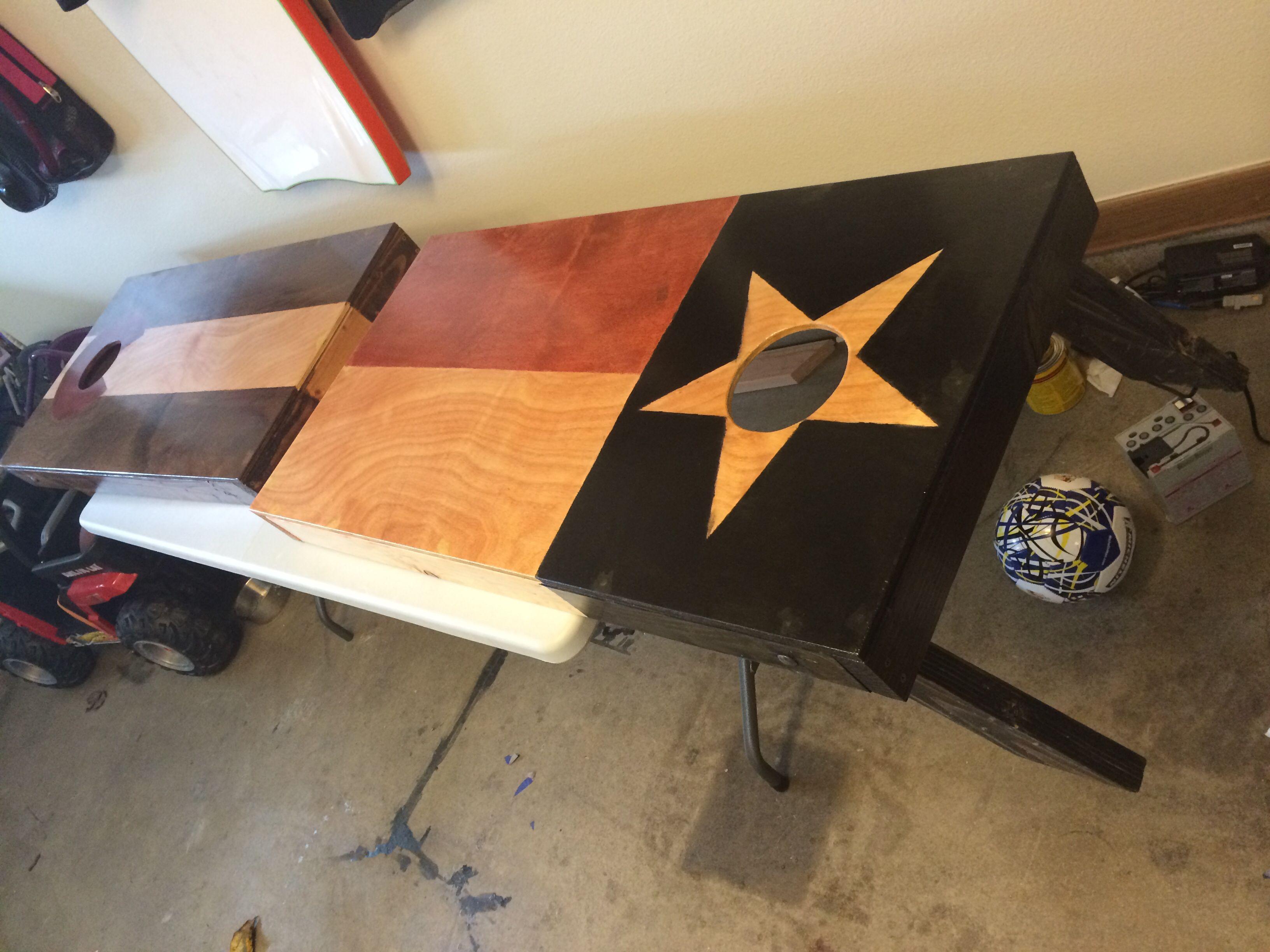 Cornhole Boards Texas Flag Stain