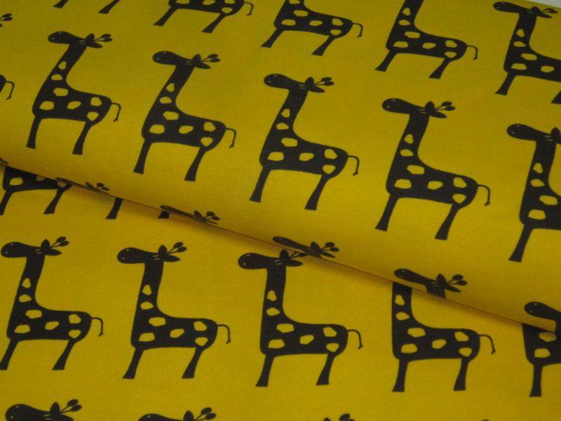 Jersey  with Giraffes in brown on yellow de Retro-Stoff-Cafe por DaWanda.com