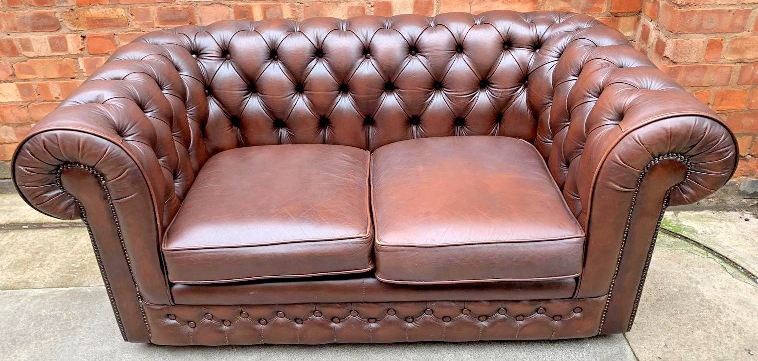 Ebay Sofa Pink Details About Thomas Lloyd Chesterfield Brown Leather Low Button