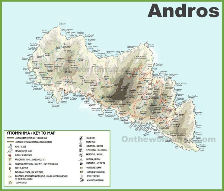 Andros tourist map Maps Pinterest Tourist map and Greece islands