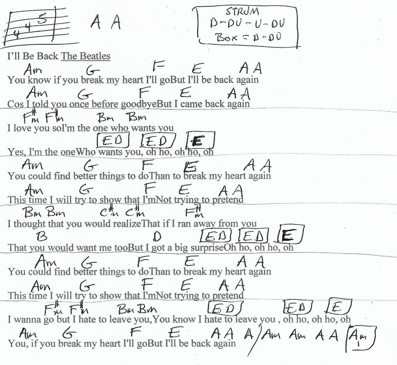 I Ll Be Back The Beatles Guitar Chord Chart Guitar Chord Chart Beatles Guitar Guitar Chords