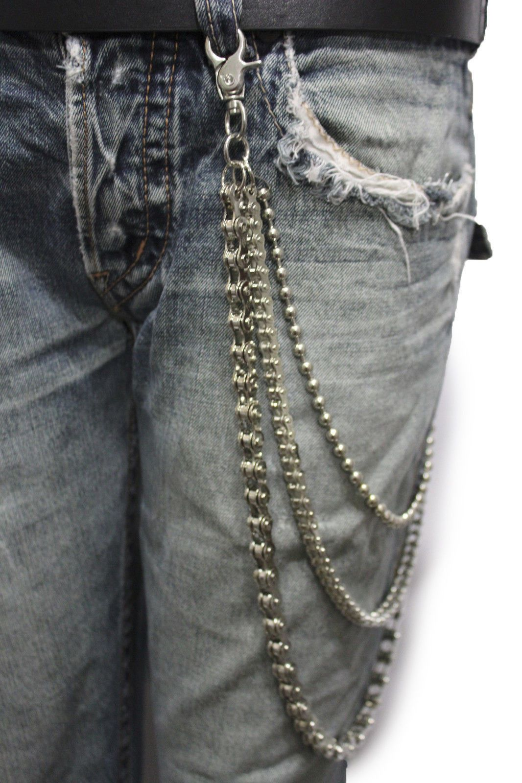 d737f91cf0de Silver Metal Wallet Chains Links KeyChain Jeans Biker 3 Strands Biker  Motorcycle Rocker New Men Fashion Accessories