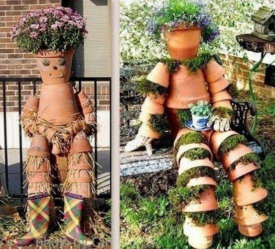 cr ations personnages en pots de fleurs au jardin pinterest pots de fleurs pots et personnage. Black Bedroom Furniture Sets. Home Design Ideas