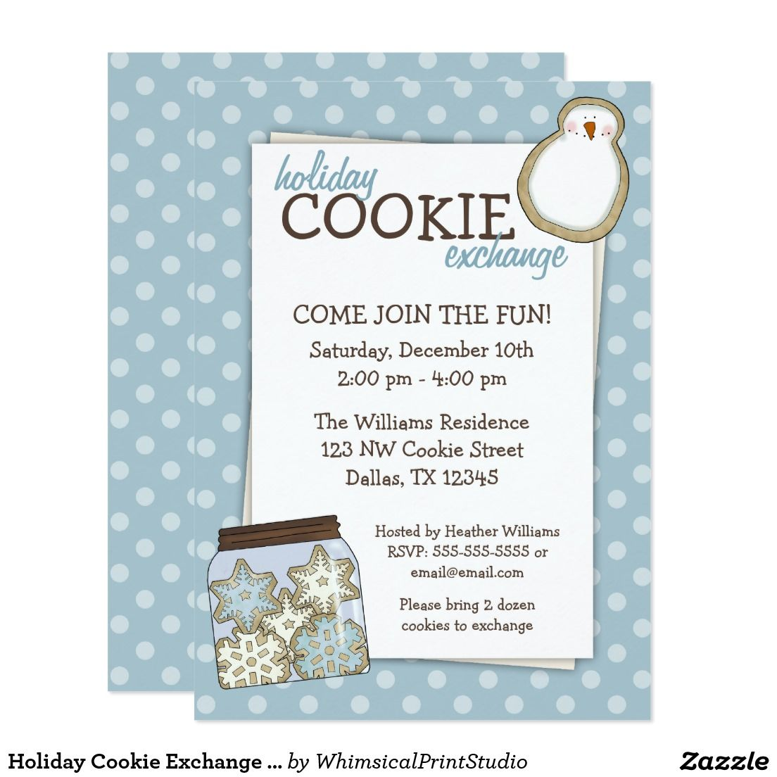 Holiday Cookie Exchange Blue Polka Dot Invitations | Christmas Party ...