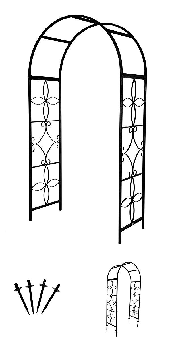 Garden Arch With Stabilizing Anchor Stakes By Trademark Innovations (Black)