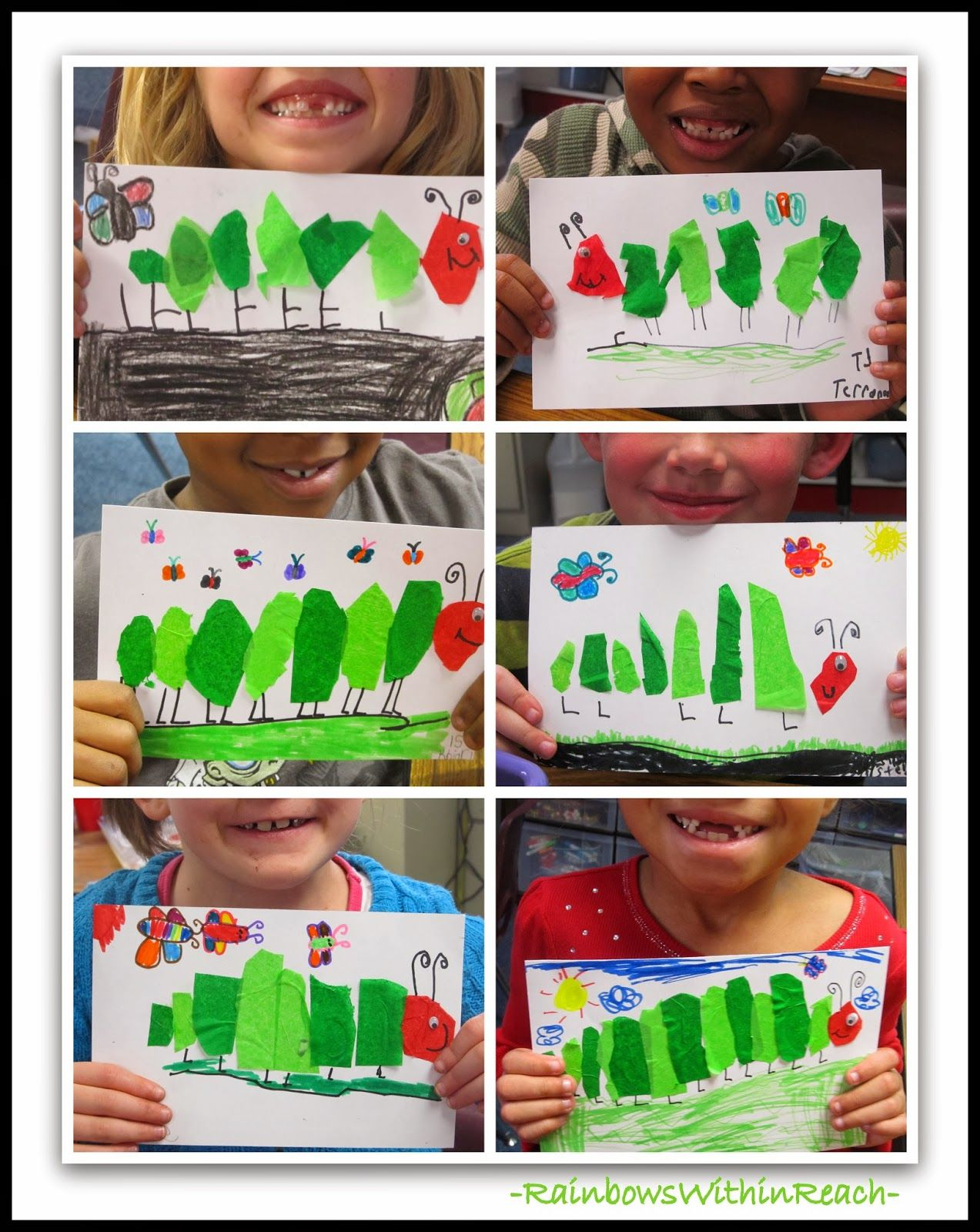 Tissue Paper Hungry Caterpillars Reflect Eric Carle