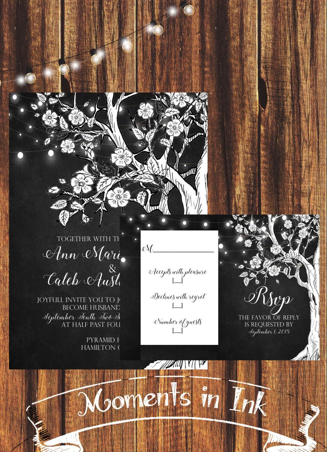 Charcoal And White Tree Wedding Invitationfree Shipping Rustic Country Elegant Floral By Momentsinink On Etsy: Floral Wedding Invitations With Tree At Websimilar.org