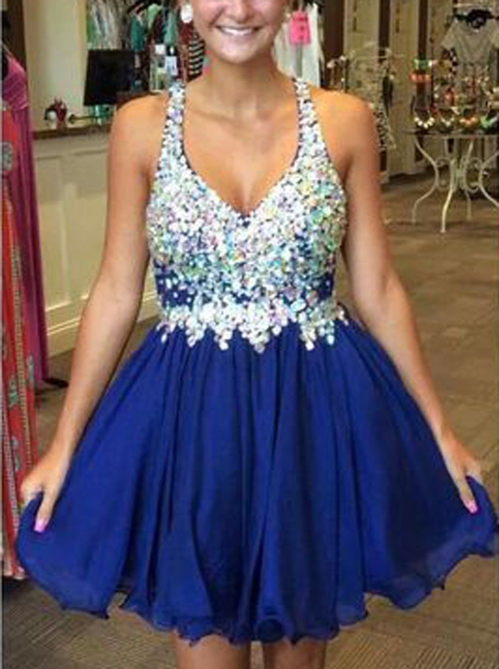 Sparkly royal blue homecoming dress vneck chiffon beads