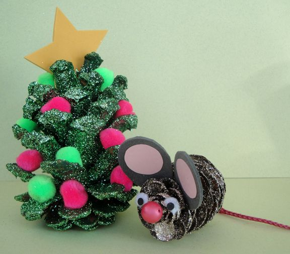 Christmas pinecone tree and mouse, decorated with glitter, pom-poms and craft foam scraps. Copyright Pamela Maxwell 2013