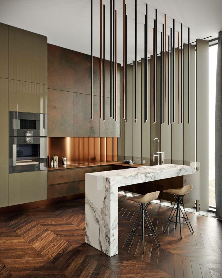 cocina con barra de mármol diseñada por tolko interiors Inner - barras de cocina