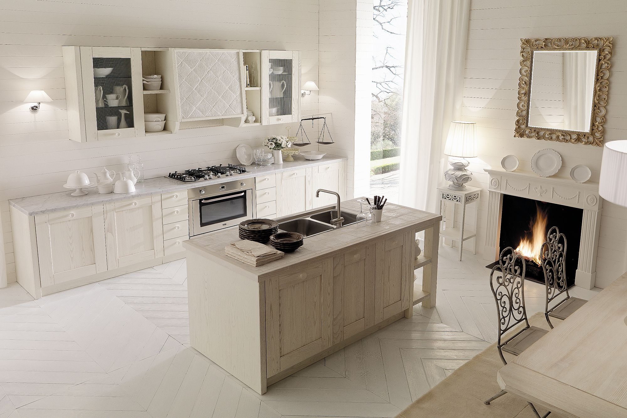 Cucina country chic bianca con isola aurora cucine taverna pinterest kitchen elegant - Cucine con isole ...