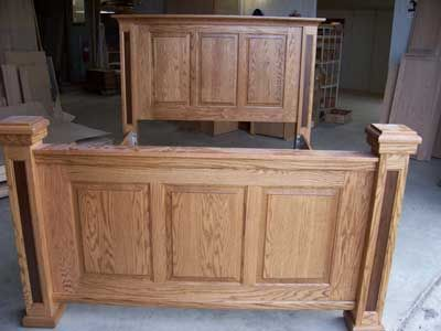Custom Amish Made Mission Bed With Inlaid Walnut