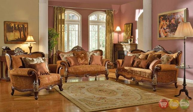 Autumn Formal Luxury Sofa Set With Antique Styling Traditional Living Room Sets Living Room Sets 3 Piece Living Room Set