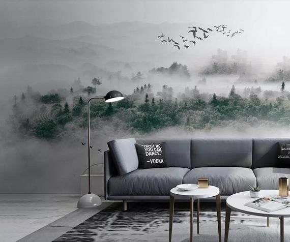 Fantastic foggy mountain scenery wallpaper for home