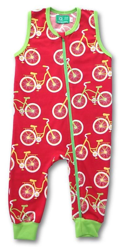 Naperonuttu Organic Overalls Bicycle Red Jersey Retro Baby