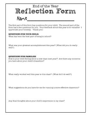 Family Reflections is a process I developed to get honest and - student feedback form
