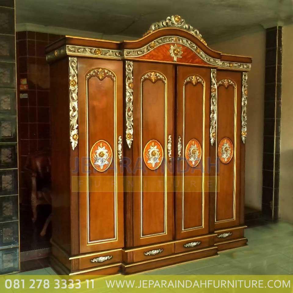 Harga Jual Lemari Pakaian 4 Pintu Ukir Jati Klasik Aesthetic Interior Design Furniture Design Harga lemari jati