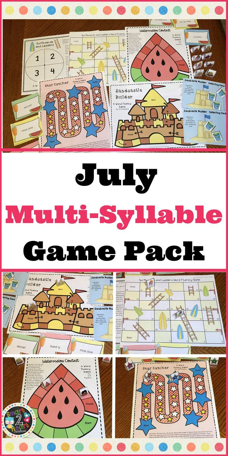 JULY Multisyllabic Games Word Fluency Literacy Center Big