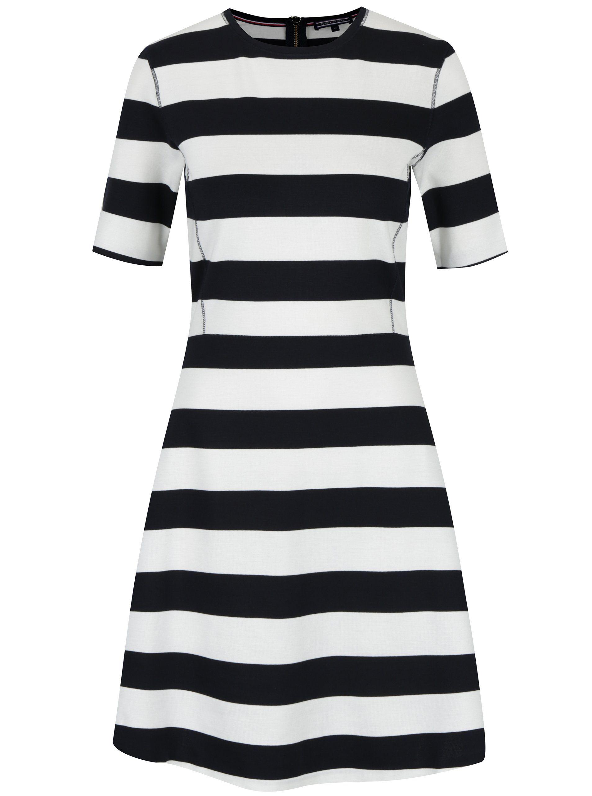 Černo-krémové pruhované šaty Tommy Hilfiger  8728103868