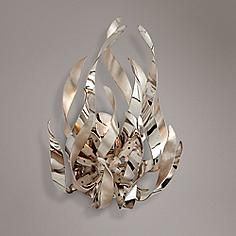 "Corbett Graffiti 15 1/2""H Silver Leaf Wall Sconce"