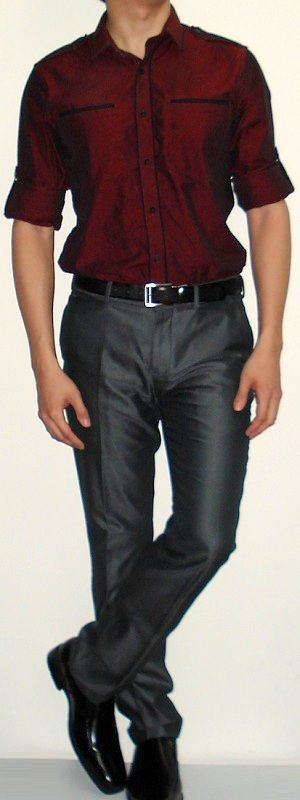Men's Dark Red Shirt Dark Grey Suit Pants Black Leather Shoes ...