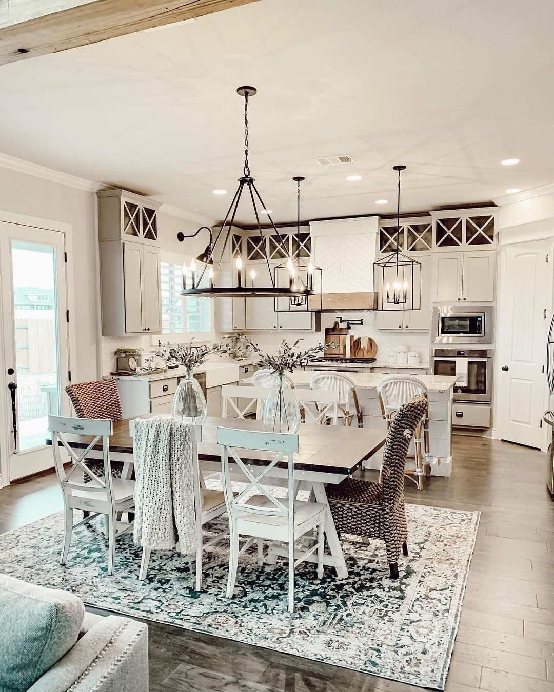 """DECOR STEALS: Home Decor Deals on Instagram: """"Check out this open kitchen and dining space styled by @ourfauxfarmhouse. We love her use of that lovely area rug under her dining table.…"""""""