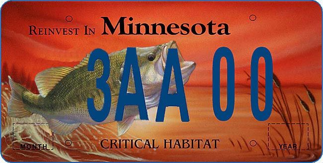 Reinvest Minnesota Bass Plate License Plate Art License Plate Vanity Plate