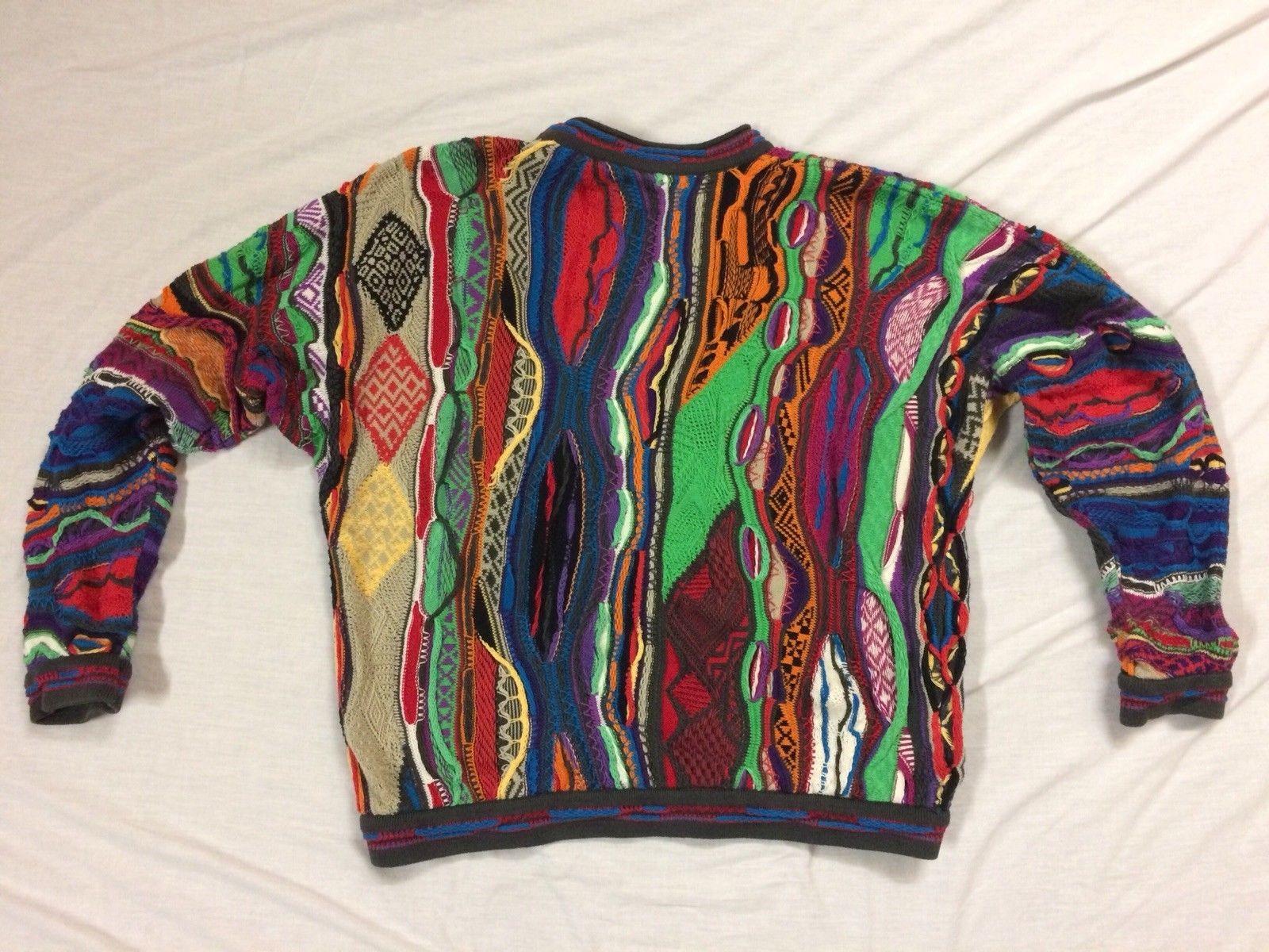 a2825bc066f RARE 90s Vtg COOGI Australia BIGGIE MCGREGOR Sweater M VAPORWAVE Neon  Nights