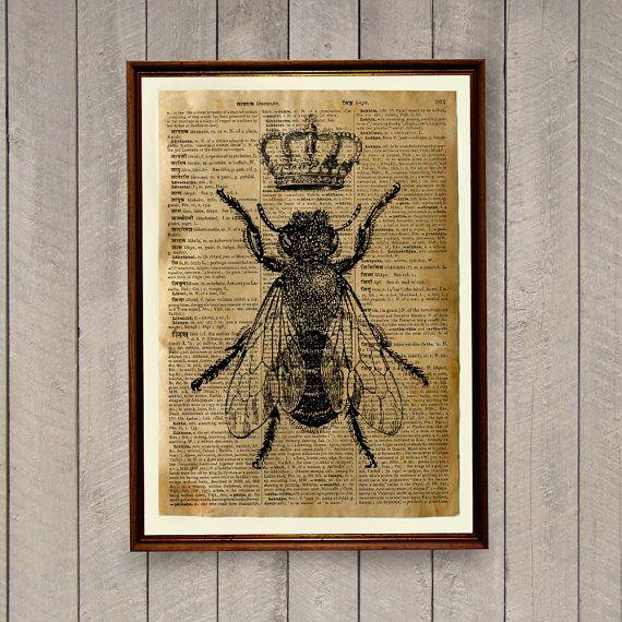 Insekten Drucken Bee Dekor Tier Poster Wörterbuch von wordantique