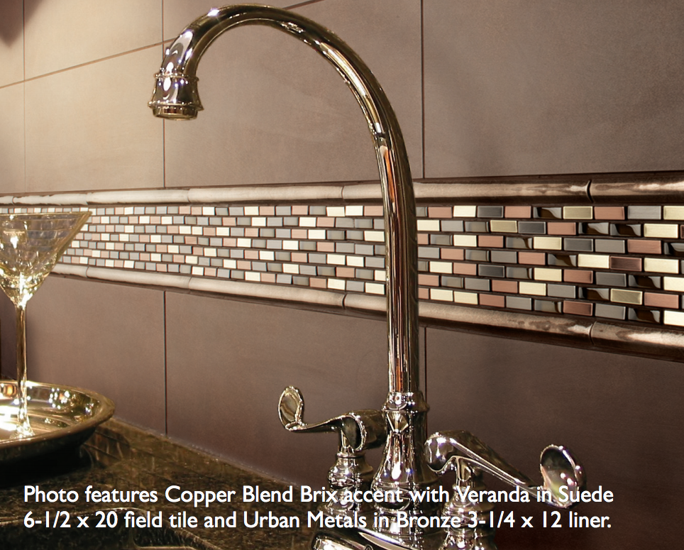 Daltile Brix Accent In Copper Also Avail In Nickel With Suede Field Tile And Pencil Trim Daltile Glass Tile Backsplash