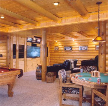 Meadow valley log homes log siding a finished basement for Log cabin with basement