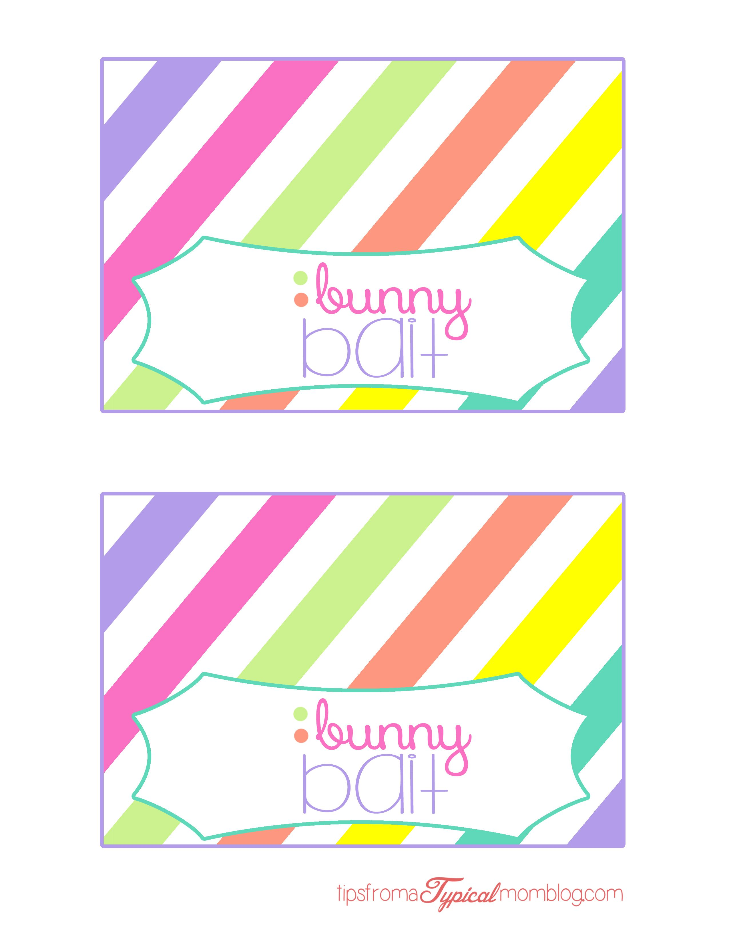 photo relating to Bunny Bait Printable named Easter Bunny Bait Totally free Bag Topper Holiday vacation - SPRING/Easter